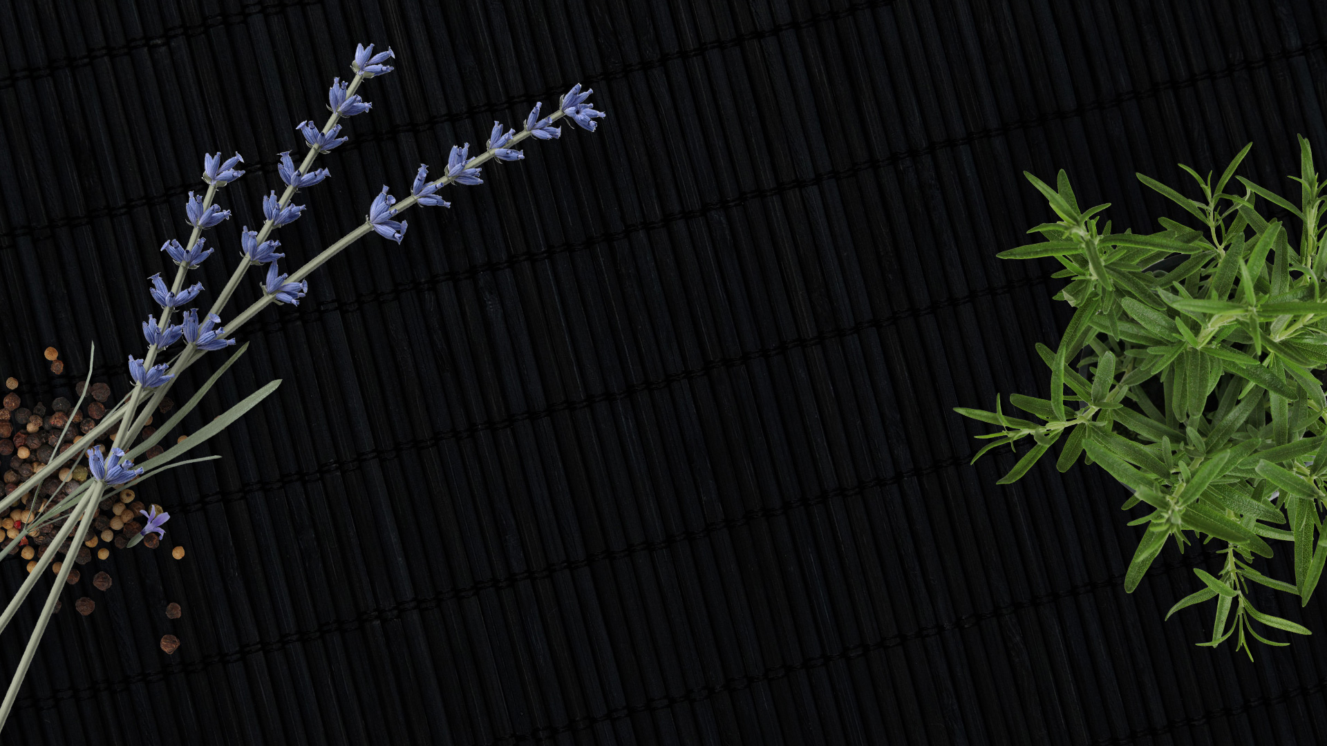 Black bamboo background with plants